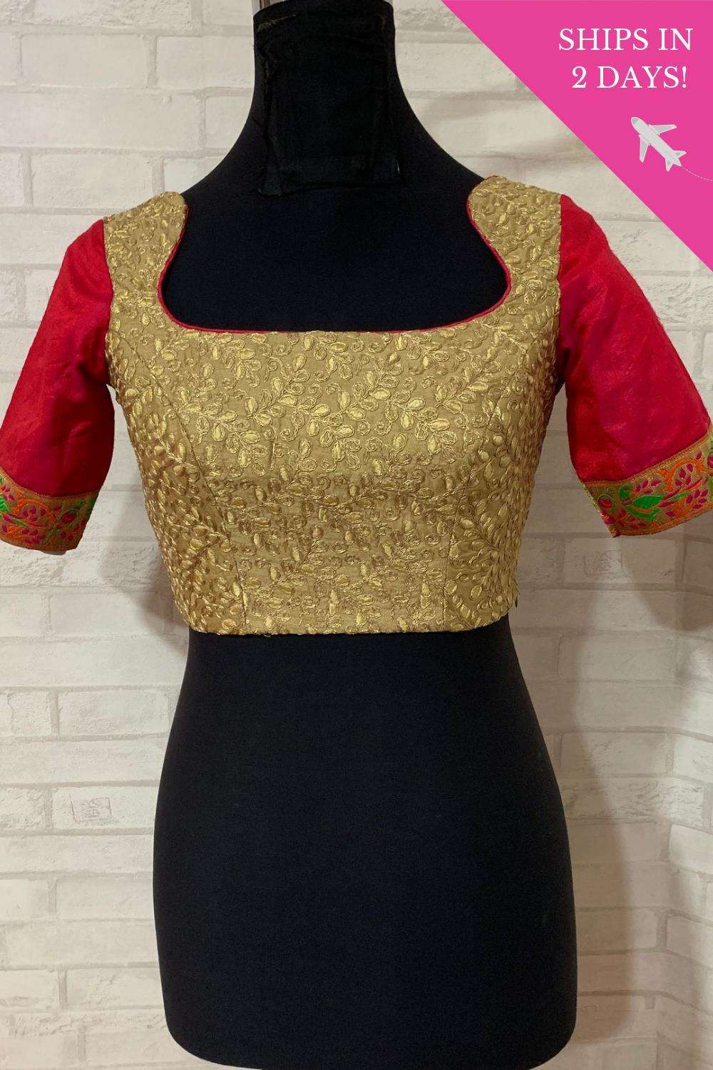 Gold threadwork blouse with pink raw silk sleeves; Size: 36