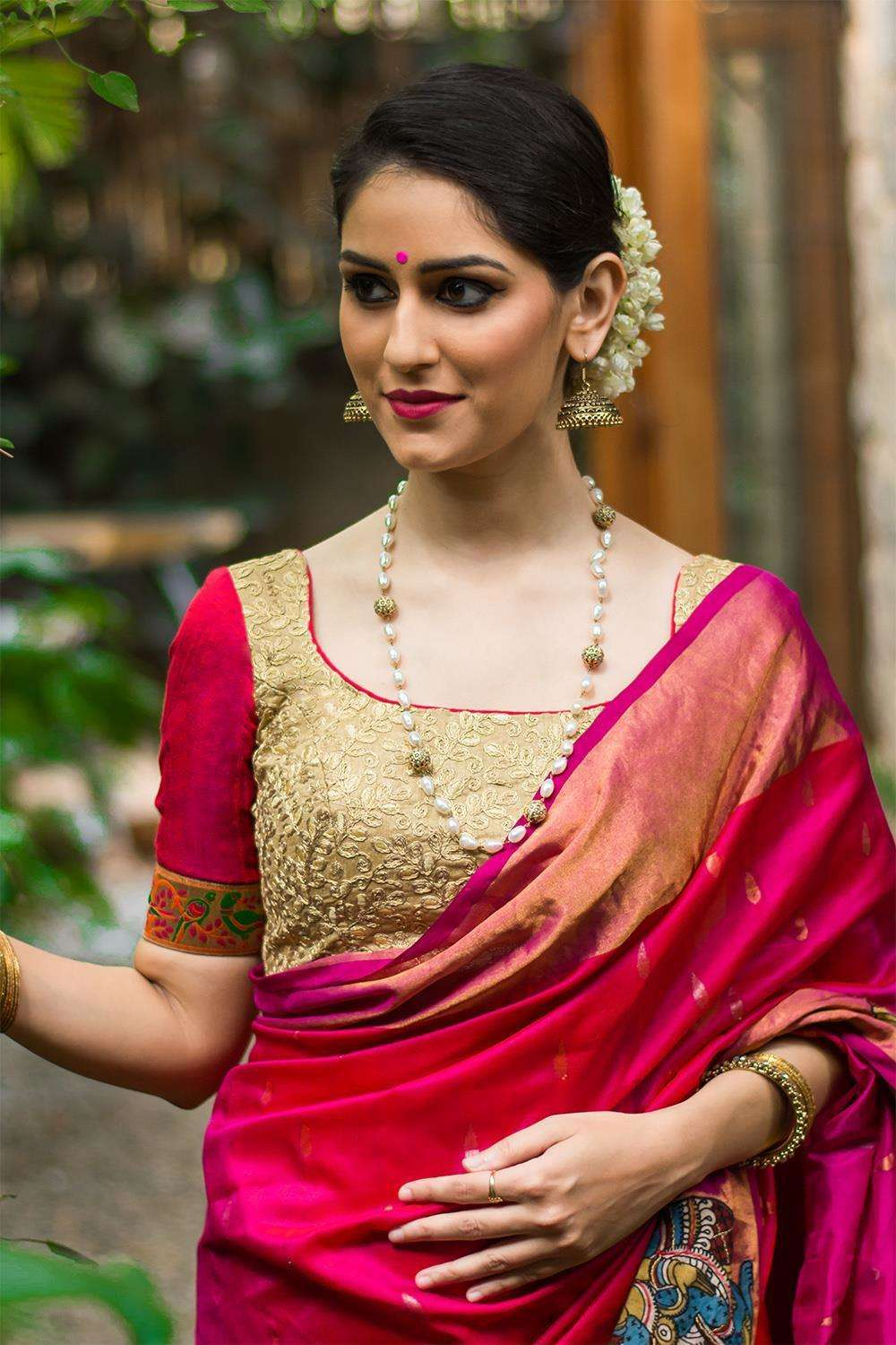 Gold threadwork blouse with pink raw silk sleeves; Size: 36 - House of Blouse