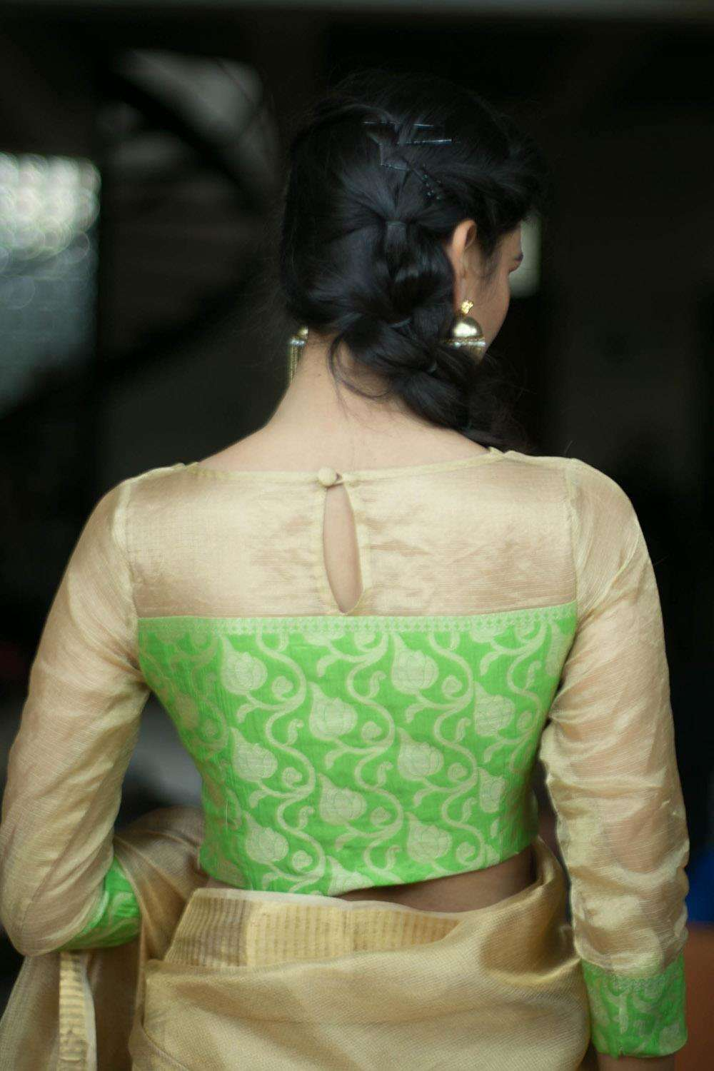Gold tissue kota and lime green brocade sheer yoke blouse