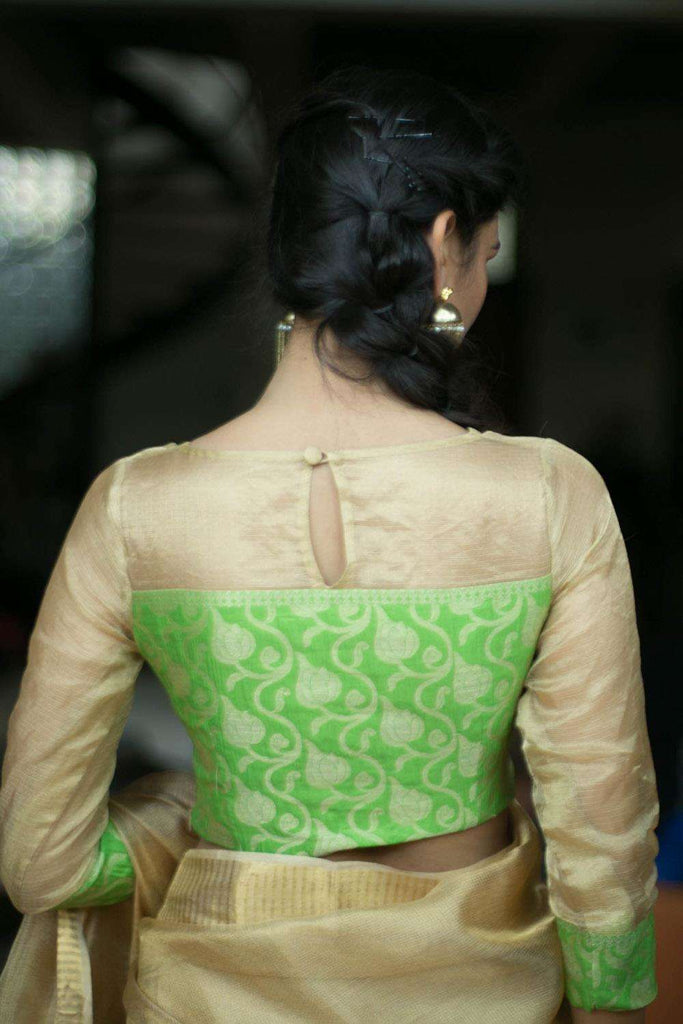 Gold tissue kota and lime green brocade sheer yoke blouse - House of Blouse