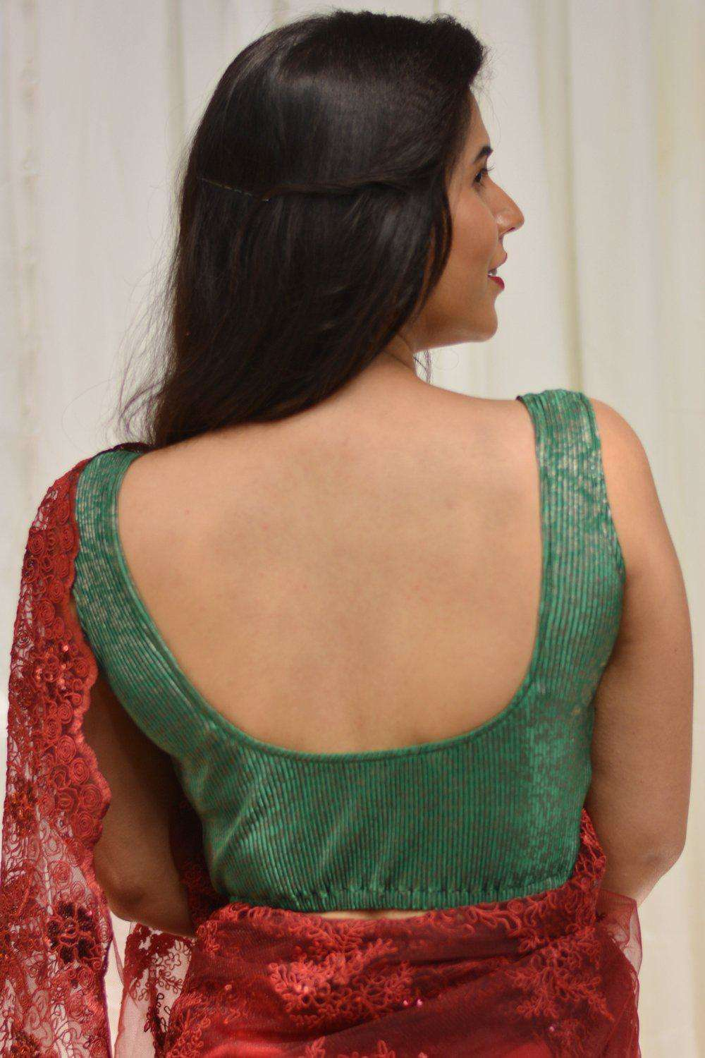 Green and silver crushed shimmer lycra sleeveless blouse - House of Blouse
