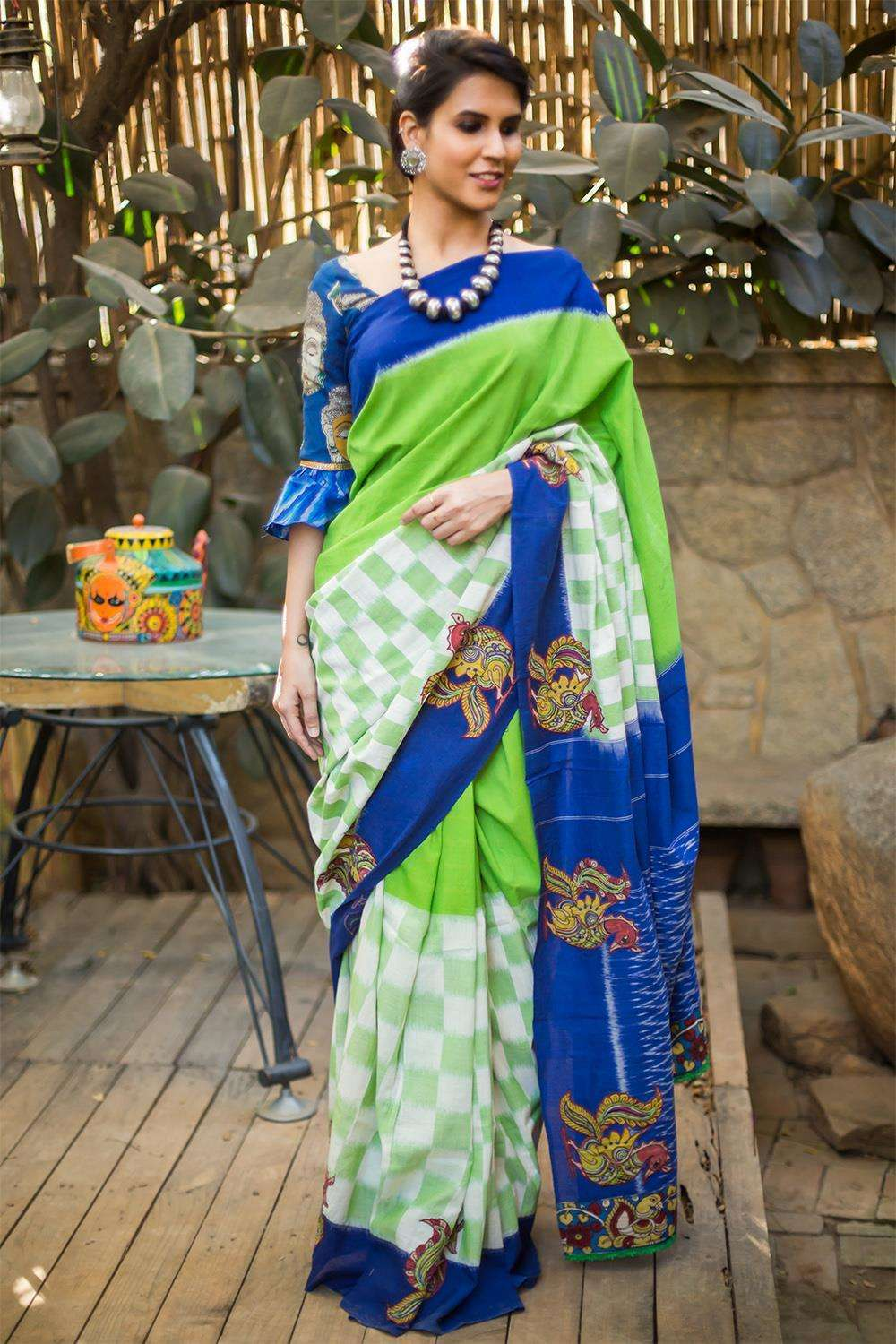 Green and white Ikat handloom cotton saree with Kalamkari appliques - House of Blouse