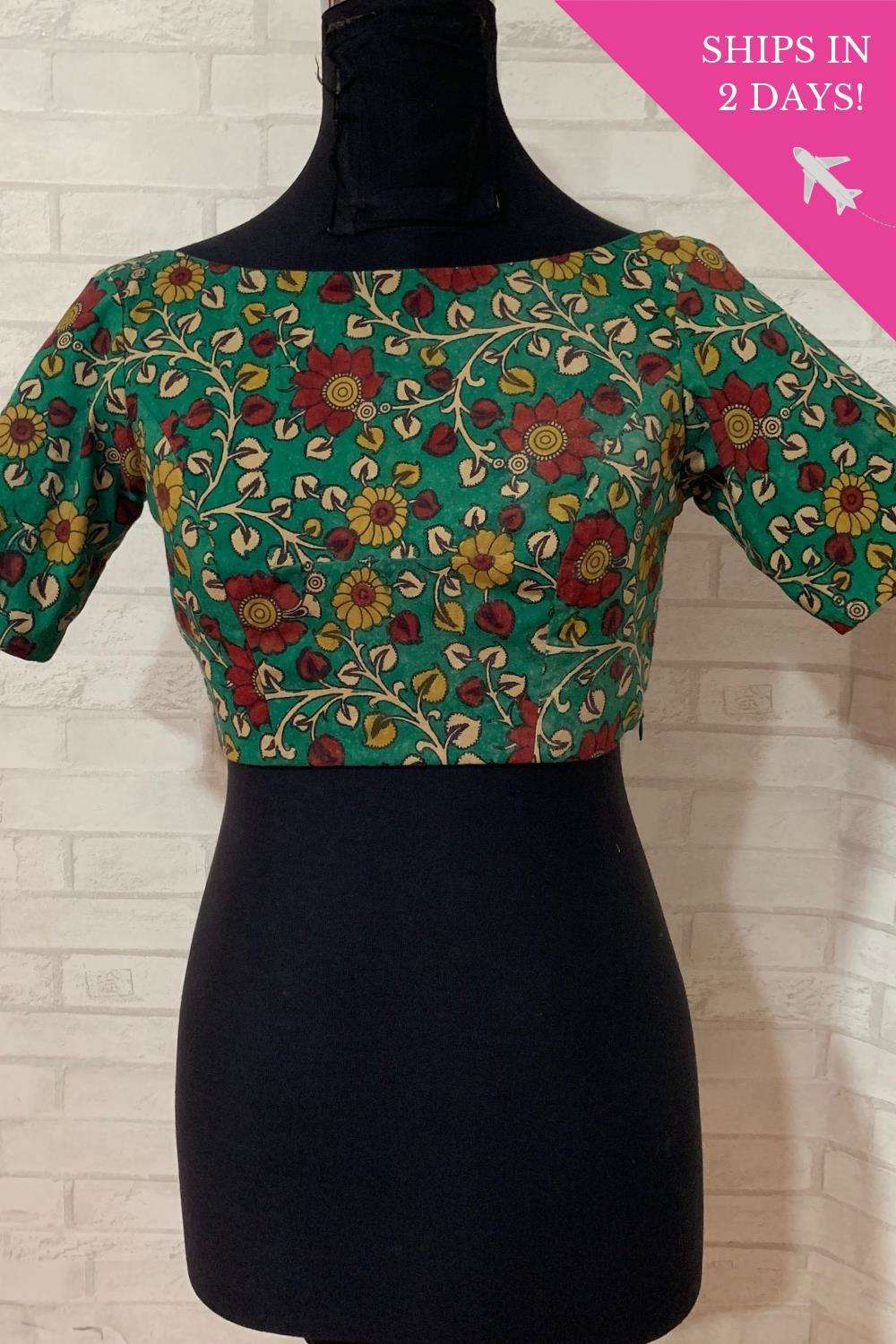 Green handpainted Kalamkari cotton boat neck blouse; Size: 36 - House of Blouse