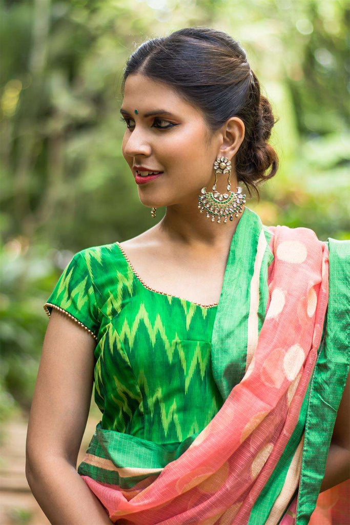 Green Ikat silk cotton sheer back blouse with applique - House of Blouse