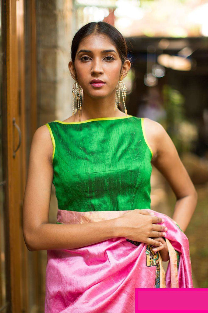 Green raw silk boat neck blouse - House of Blouse