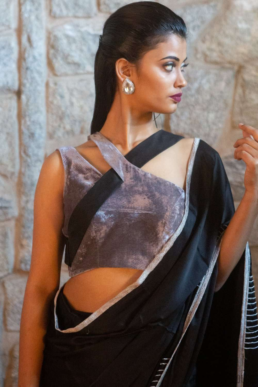 Grey-black pure silk velvet and silk satin one-shoulder blouse - House of Blouse