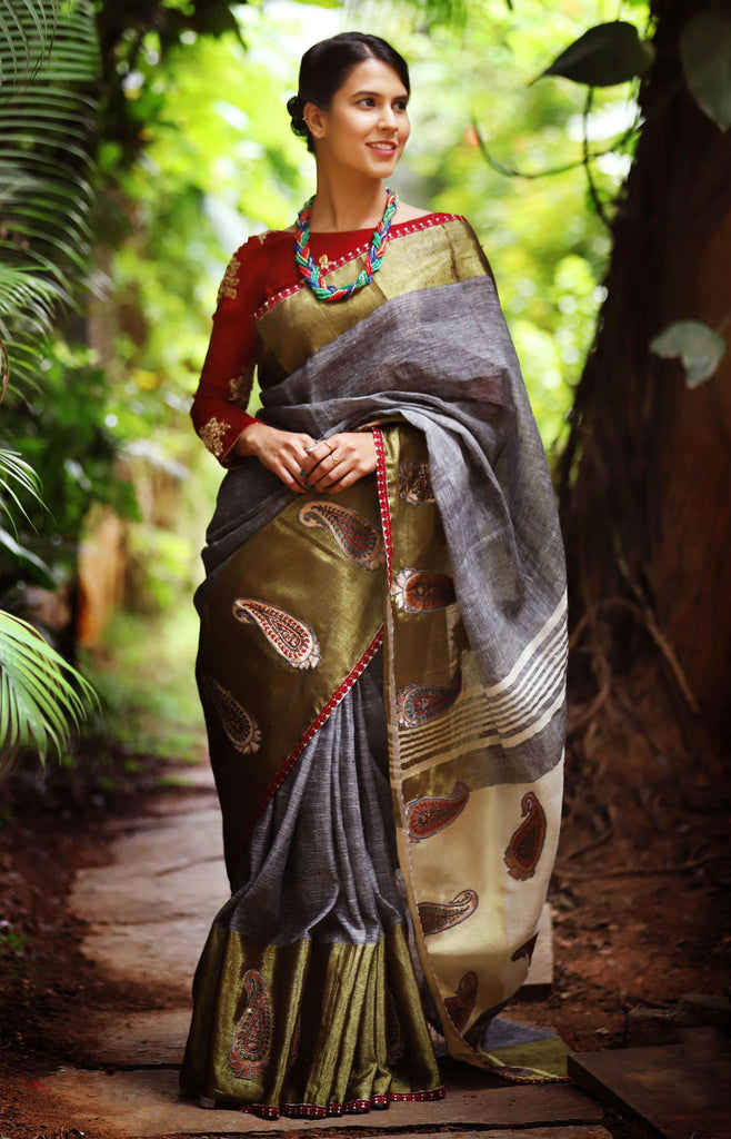 Grey Linen saree with tissue border with Paisley appliques - House of Blouse