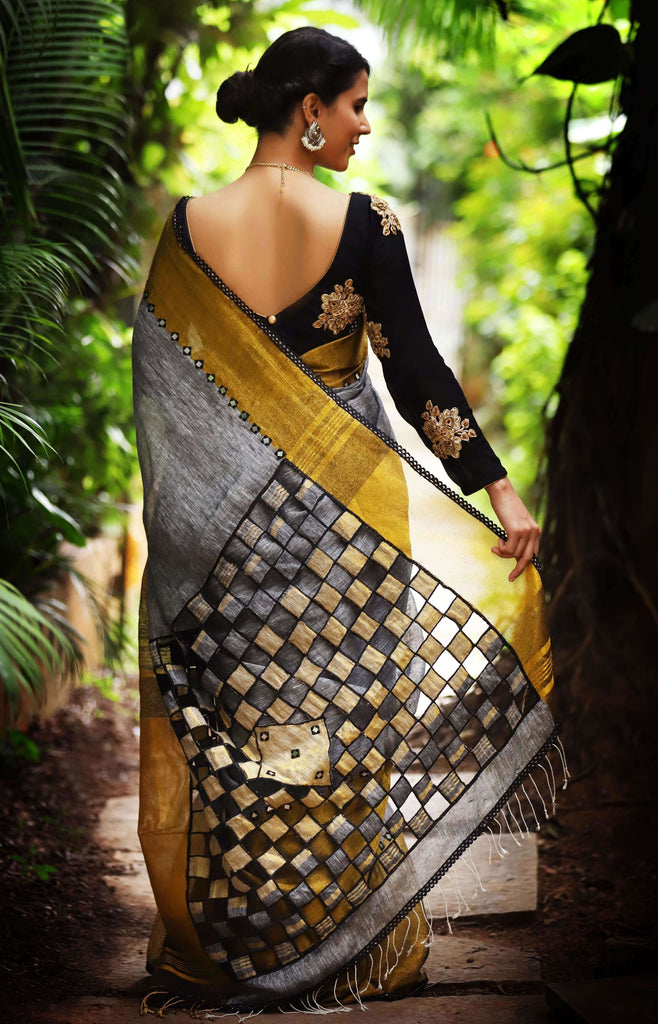 Grey Linen with tissue border with mirror work and cutwork pallu - House of Blouse