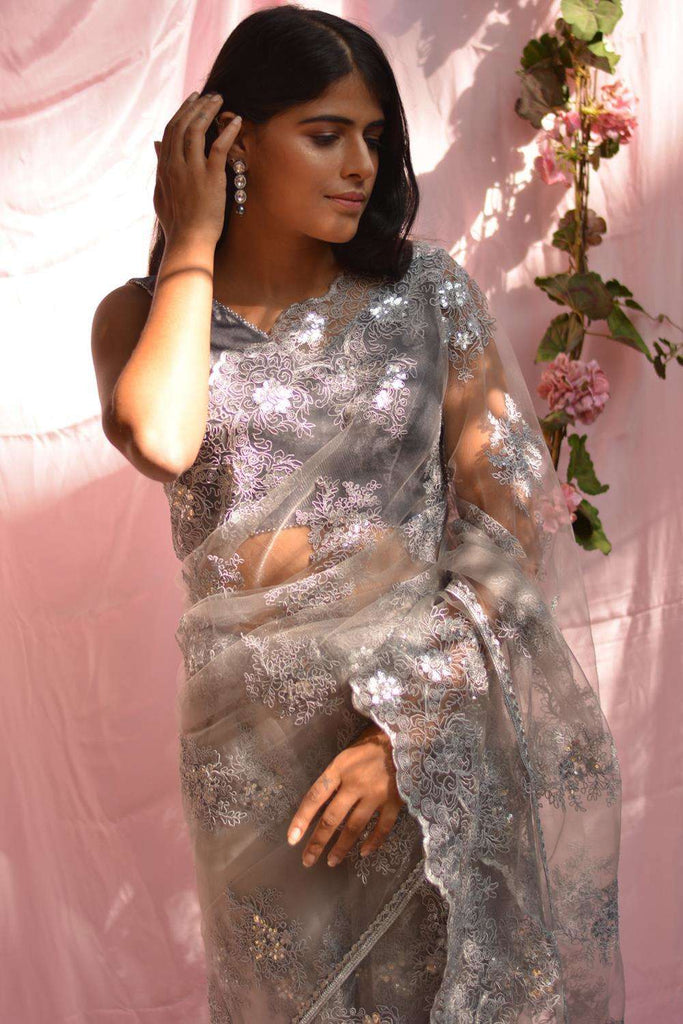 Grey net saree with lacy self-coloured threadwork and silver border - House of Blouse