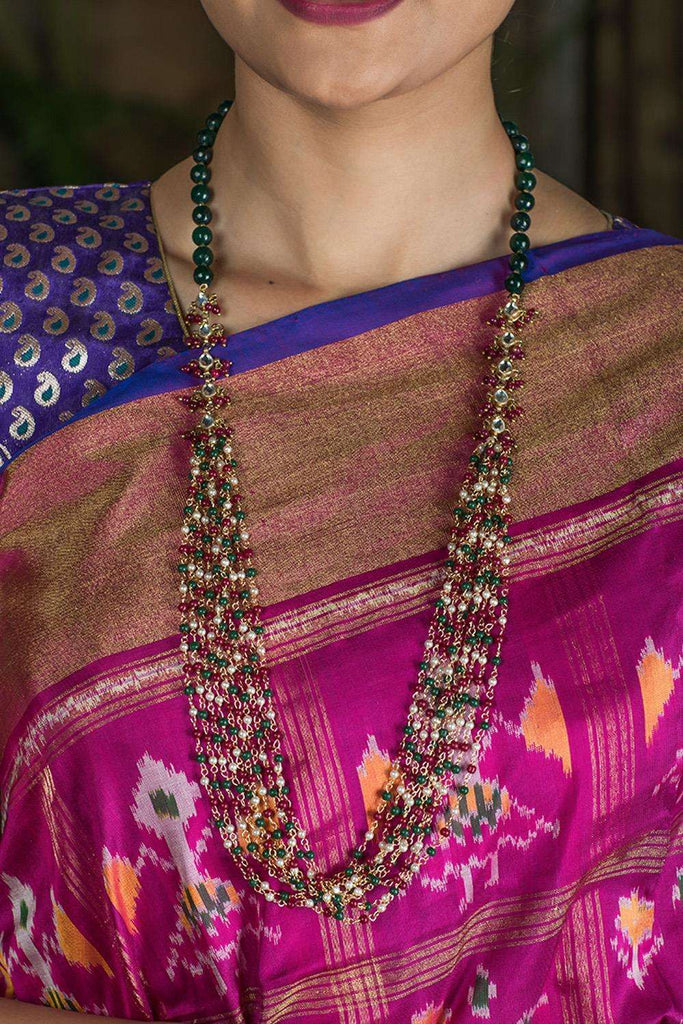 Hanswahini Red and Green Kundan Necklace - House of Blouse