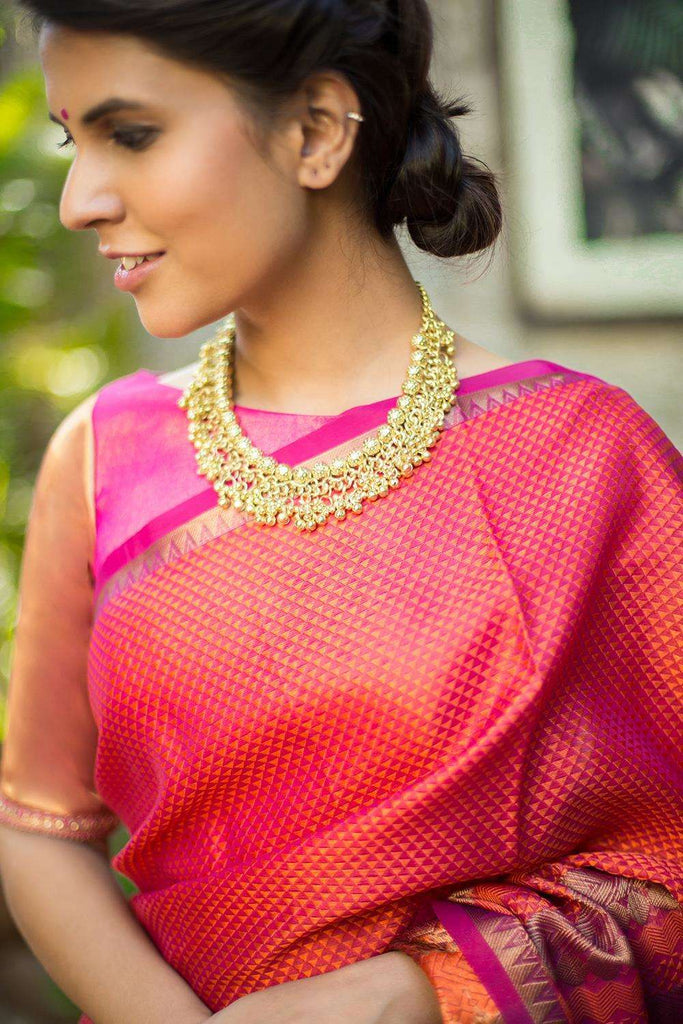 Himanshi Gold Beaded Necklace - House of Blouse