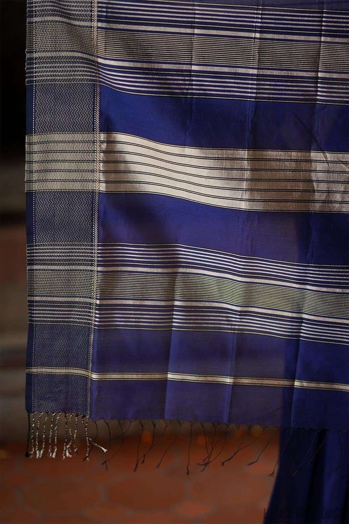 Ink blue Maheshwari silk cotton saree with silverish thread border - House of Blouse