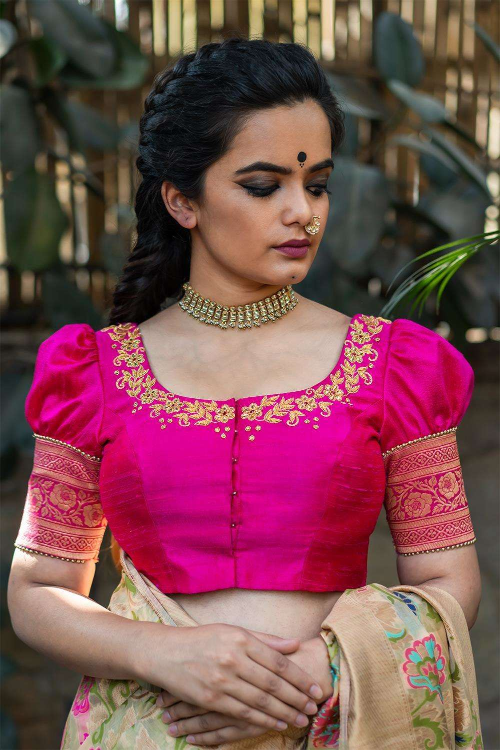 Jijabai - Hand embroidered blouse - House of Blouse