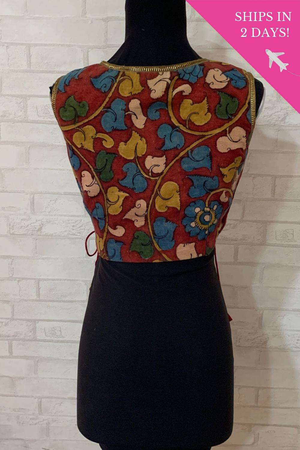 Kalamkari and lace crossover blouse; Size: 34 - House of Blouse