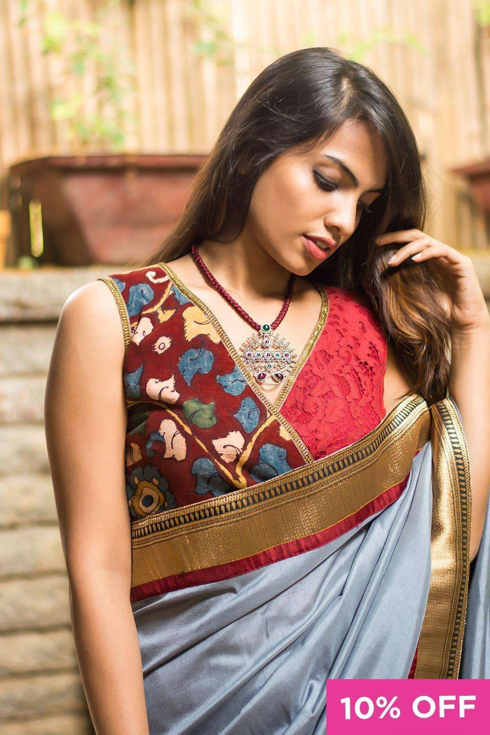 Kalamkari and lace crossover blouse; Size: 34