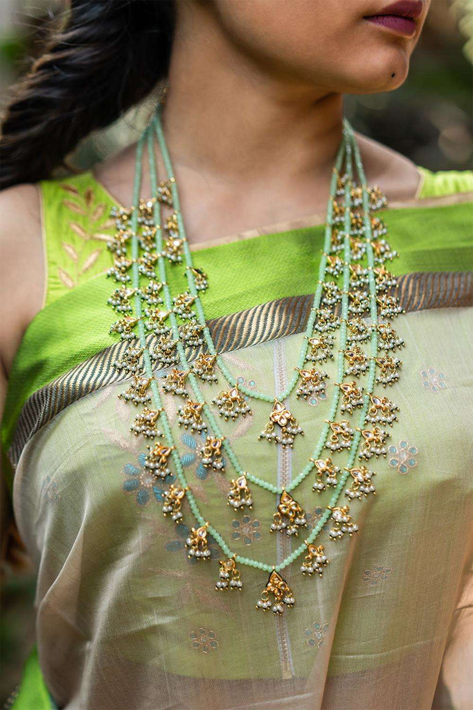 Kamya Kundan and Mint Crystal Teenlada Rani Haar Necklace - House of Blouse