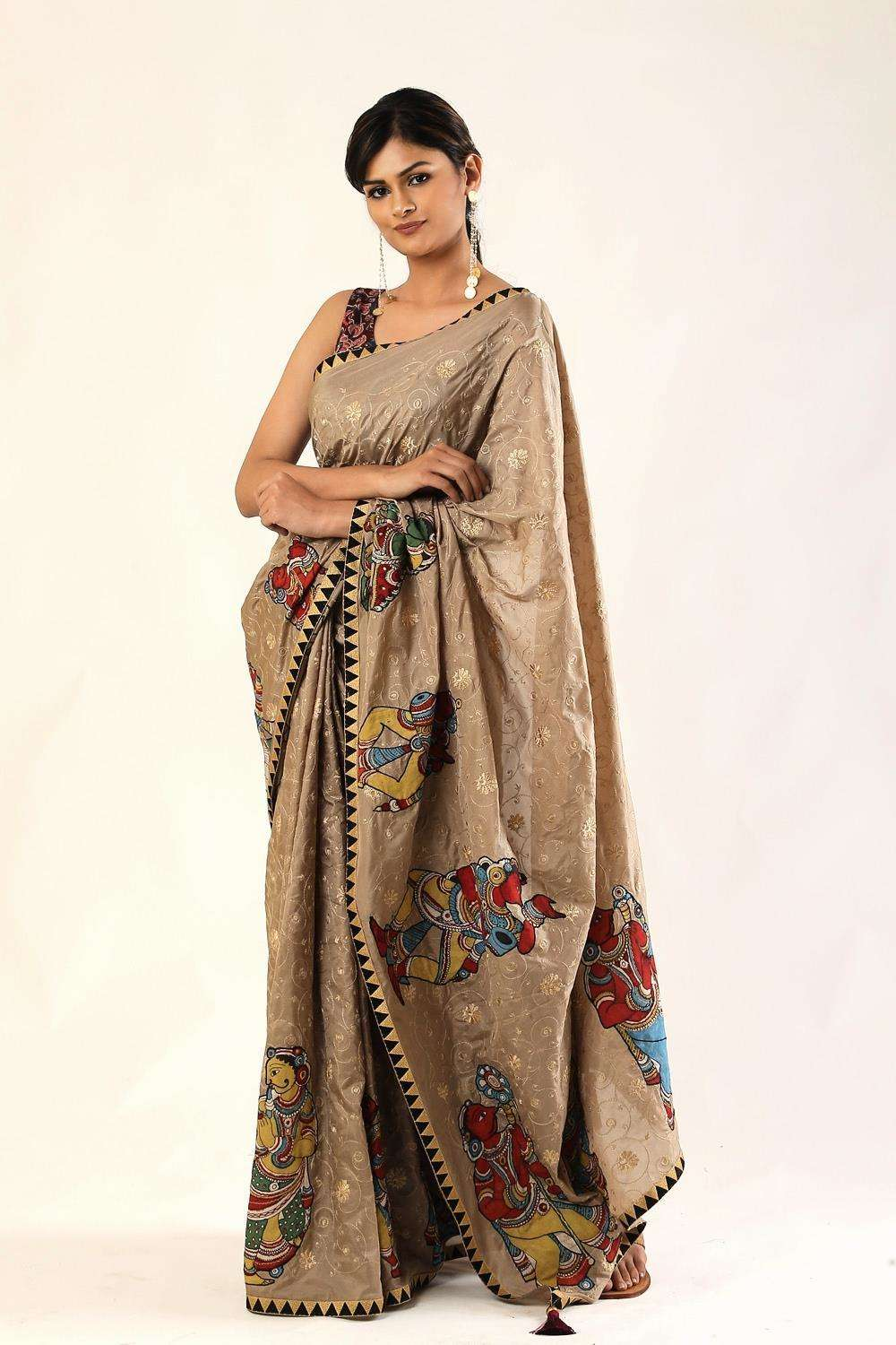 Khaki brown soft silk saree with threadwork and handpainted kalamkari appliqués + black zari border