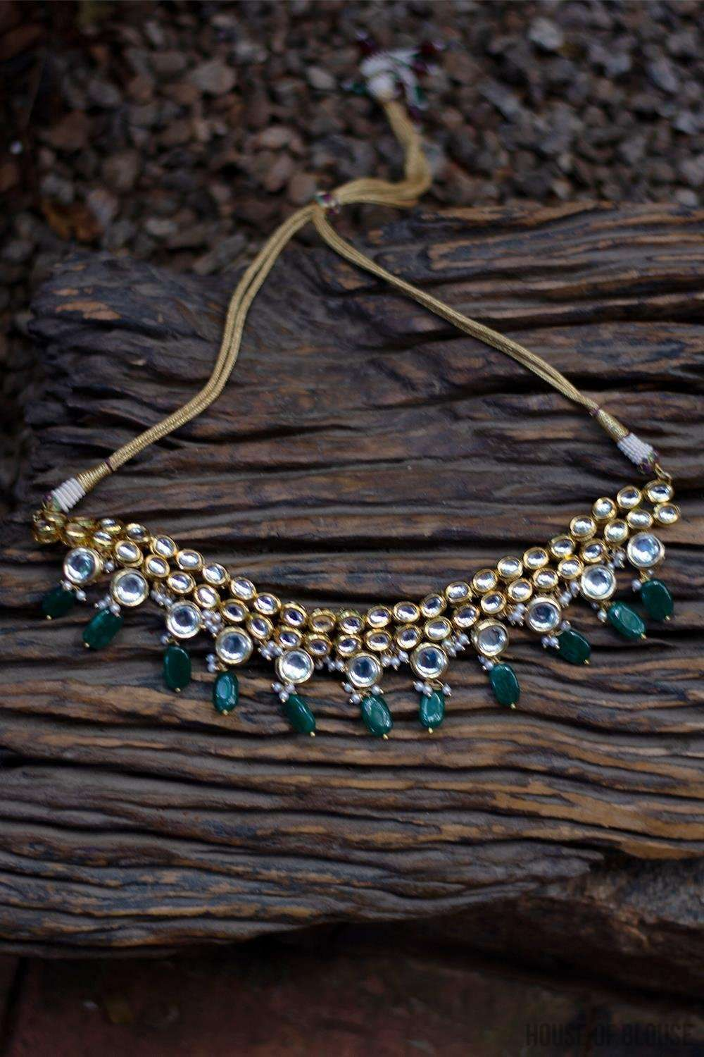 Kundan and Emerald Green Stones Choker Necklace - House of Blouse