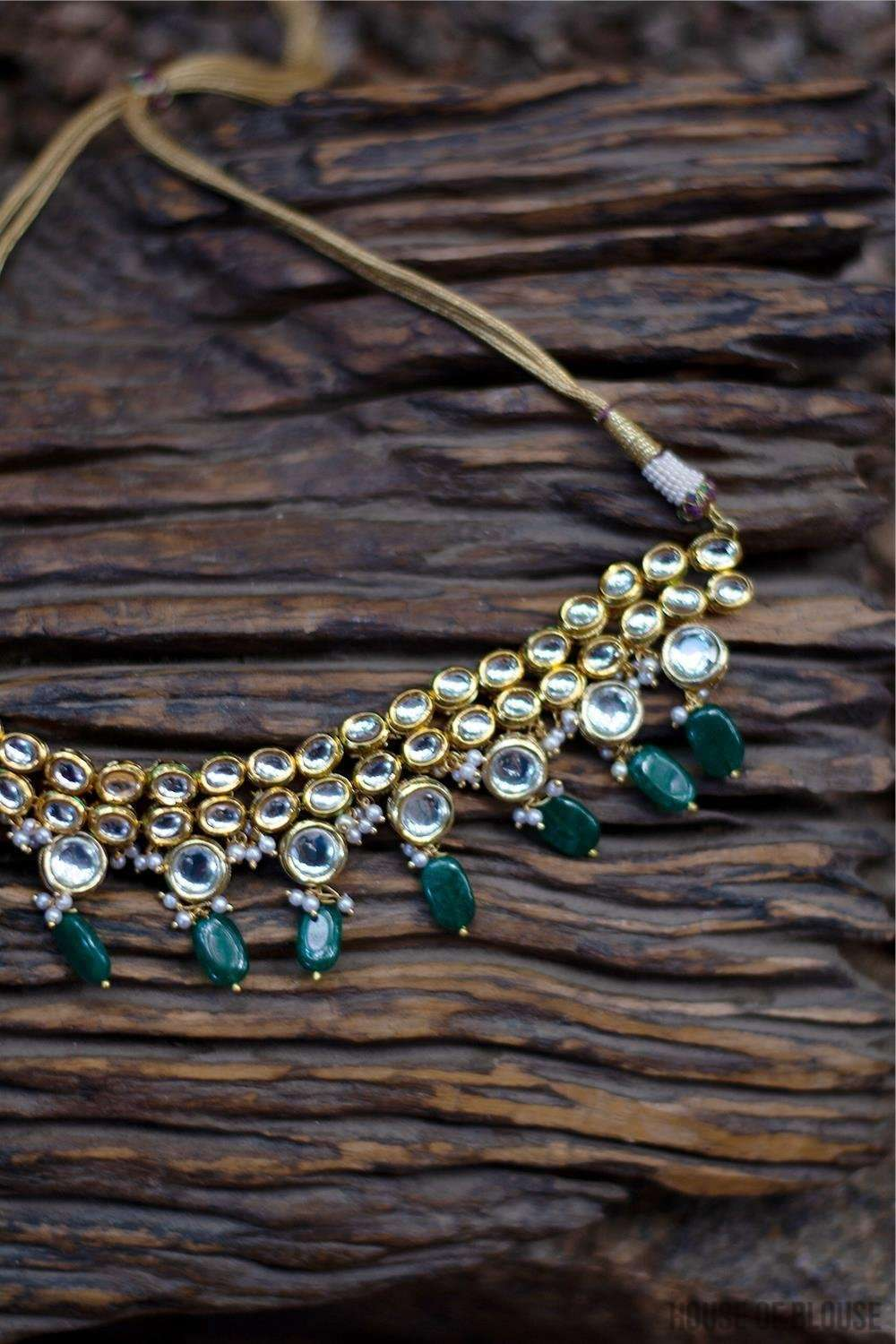 Kundan and Emerald Green Stones Choker Necklace