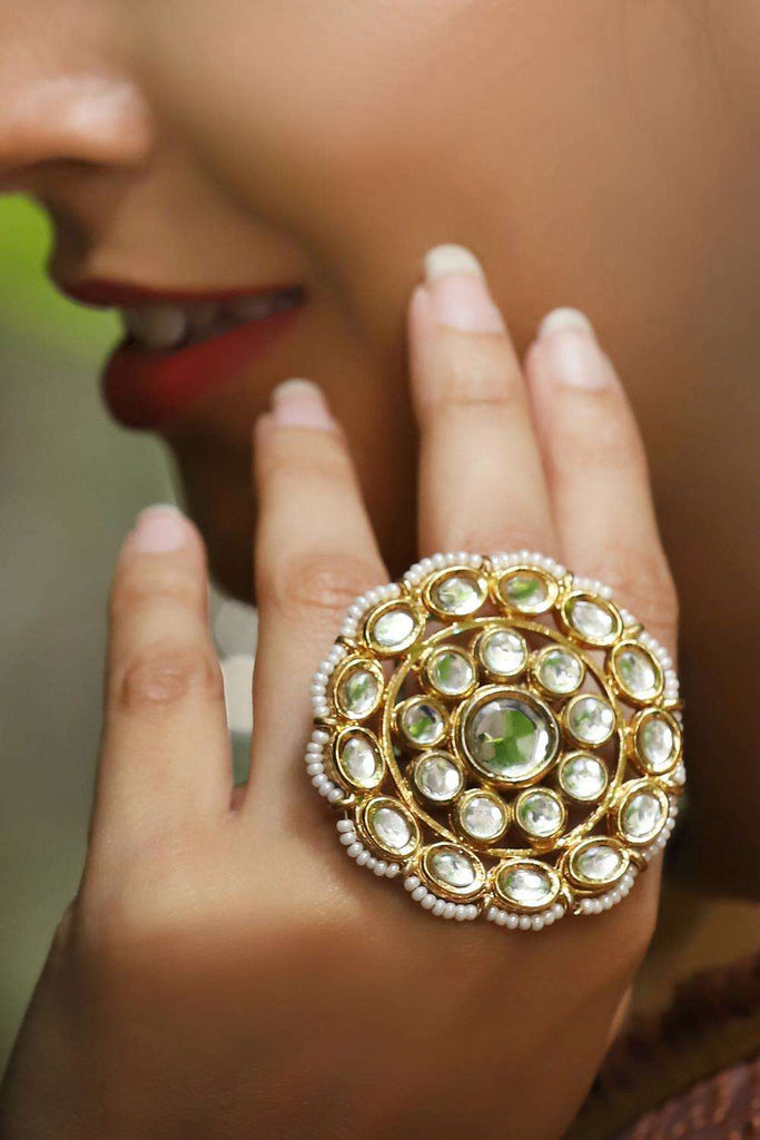 Kundan and Pearl Cocktail Ring - House of Blouse