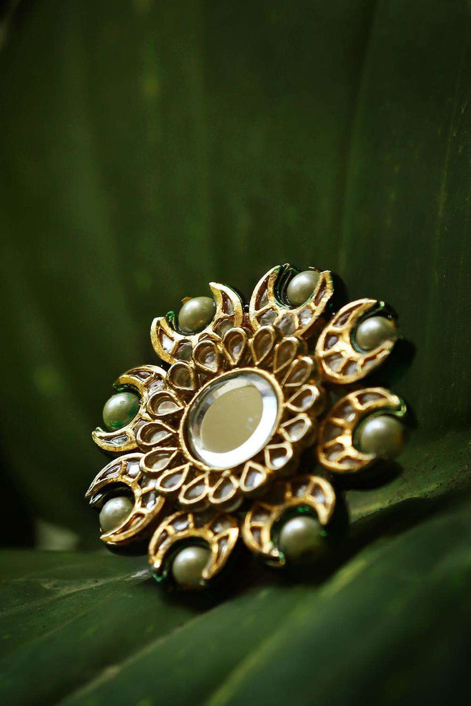 Kundan and Pearls Cocktail Ring - House of Blouse