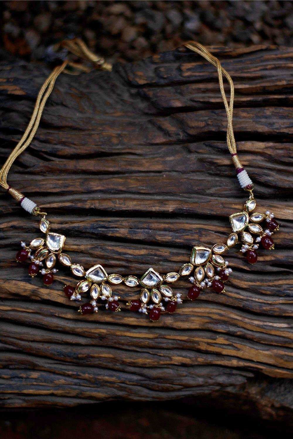 Kundan Ruby Red Stones Necklace - House of Blouse