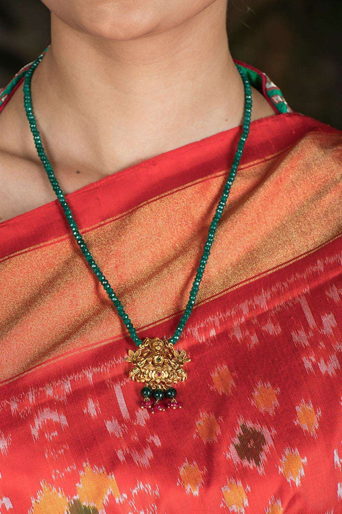 Lakshmi Gold Plated Green Onyx Necklace - House of Blouse