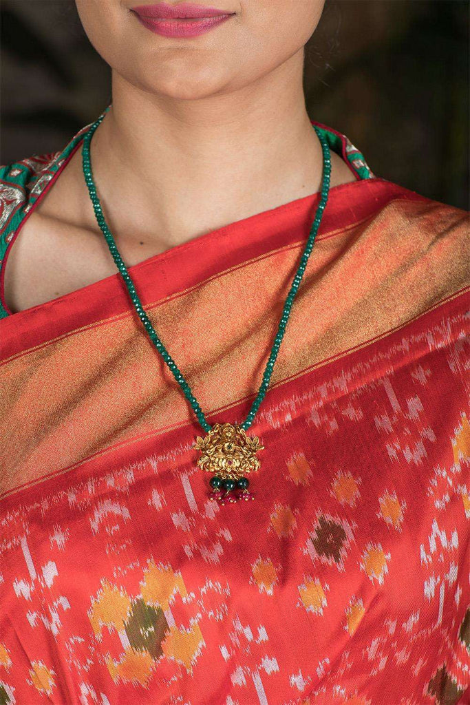 Lakshmi Gold Plated Green Onyx Necklace