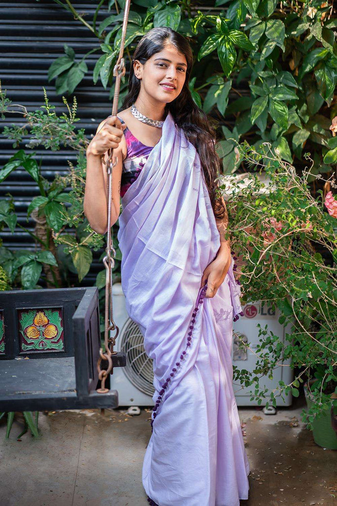 Lavender mul cotton saree with purple pom pom edging - House of Blouse