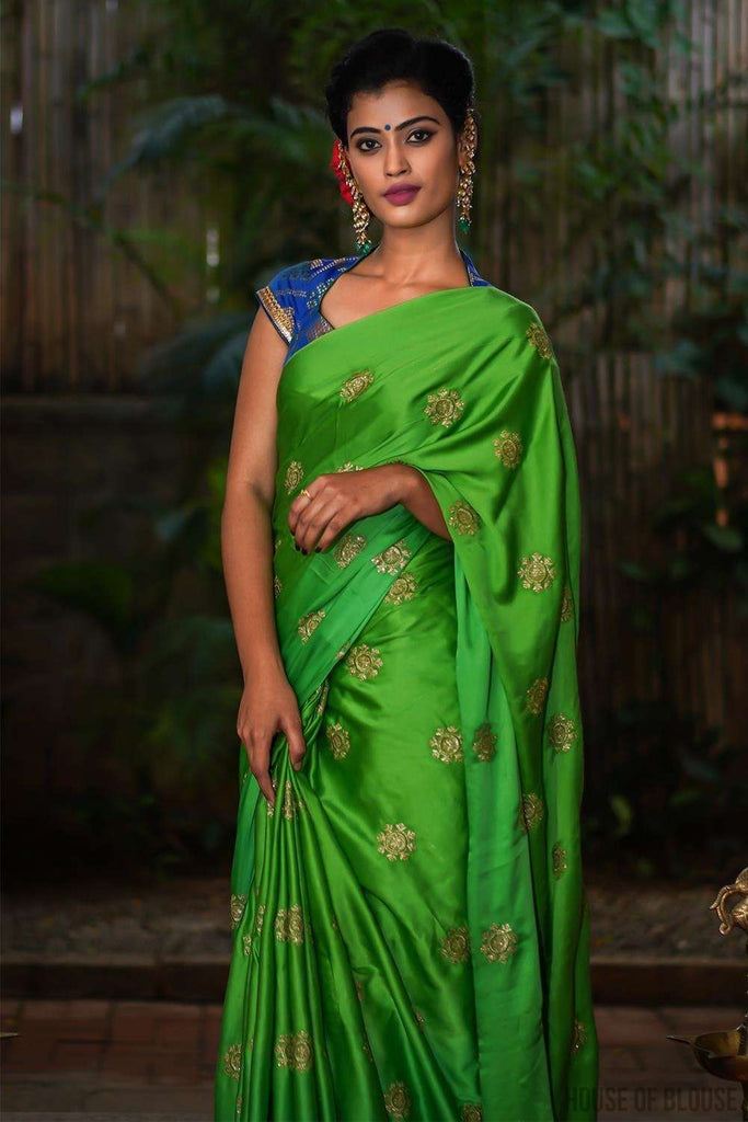Leaf green cotton satin with gold embroidered motifs