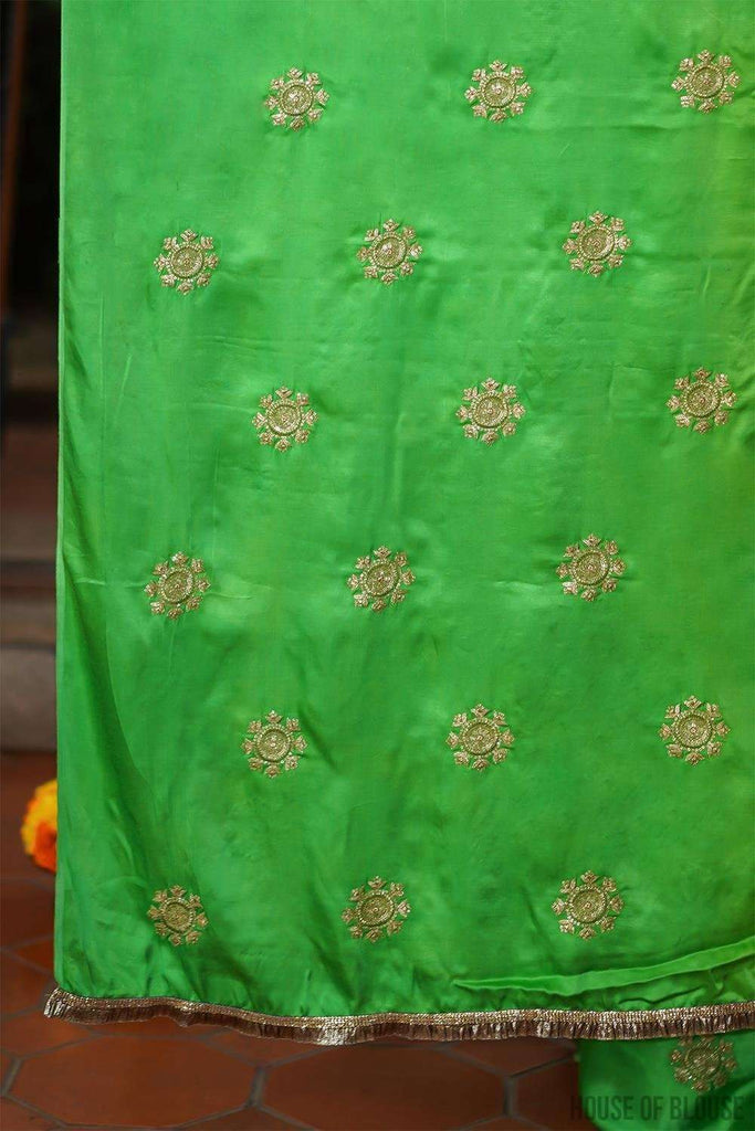 Leaf green cotton satin with gold embroidered motifs - House of Blouse