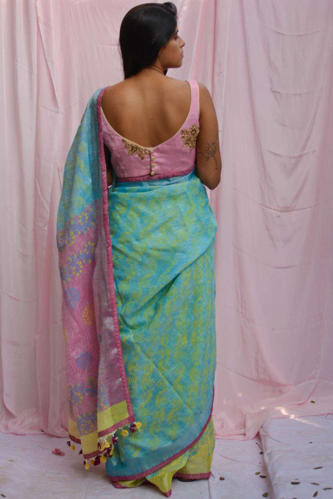Lemon yellow, blue and peach colour block linen saree with block print - House of Blouse