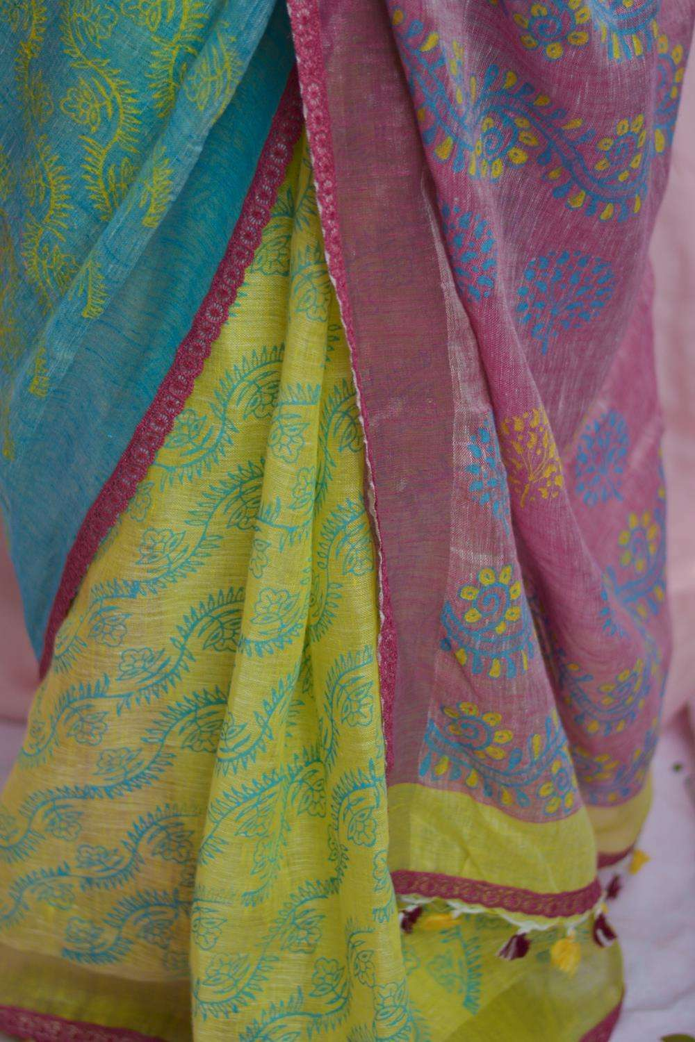Lemon yellow, blue and peach colour block linen saree with block print
