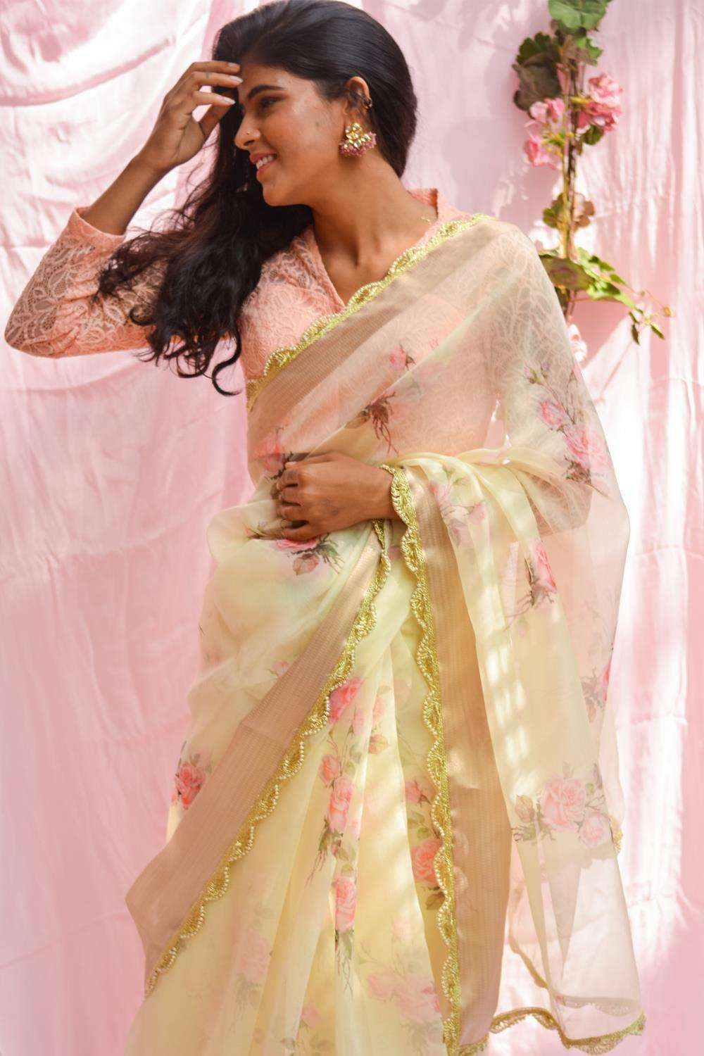 Lemon yellow floral printed organza saree with tissue border and scallop edging - House of Blouse