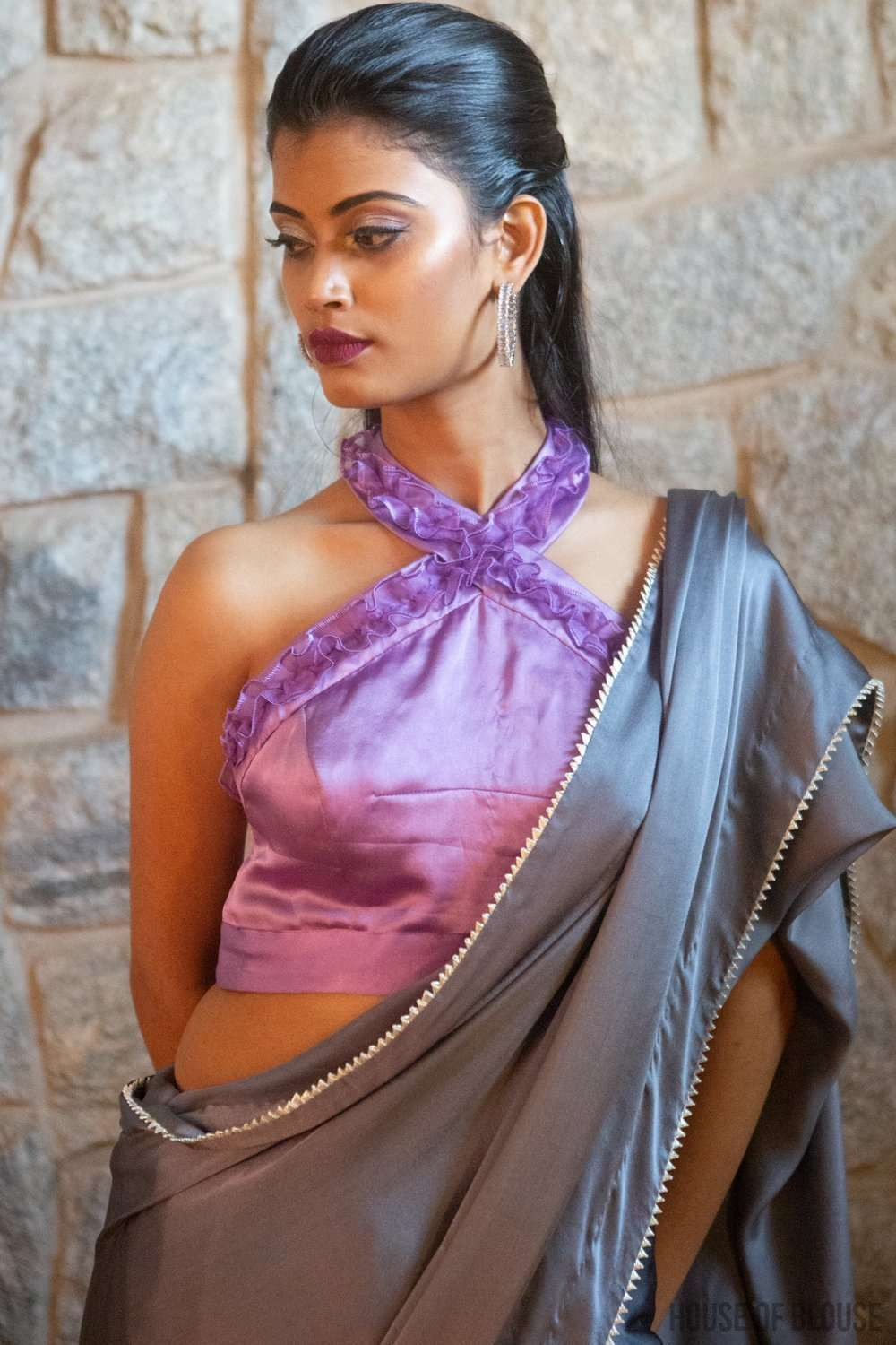 Lilac halter blouse in pure silk satin with ruched silk organza detailing - House of Blouse
