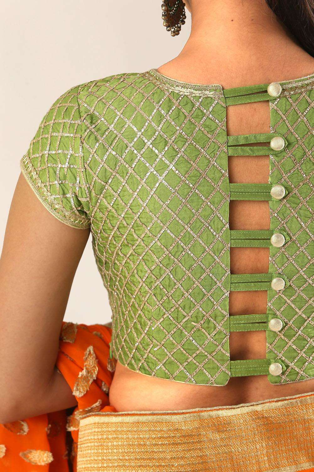 Lime green and gold gota work blouse with back detailing - House of Blouse