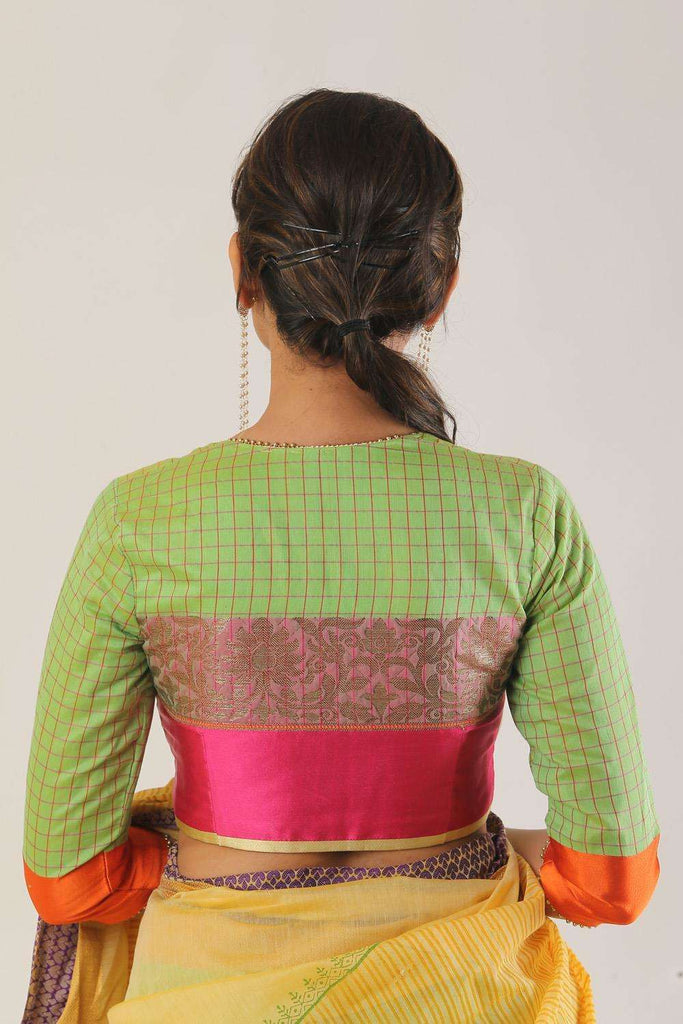 Lime green chanderi silk wide neck blouse with border detailing