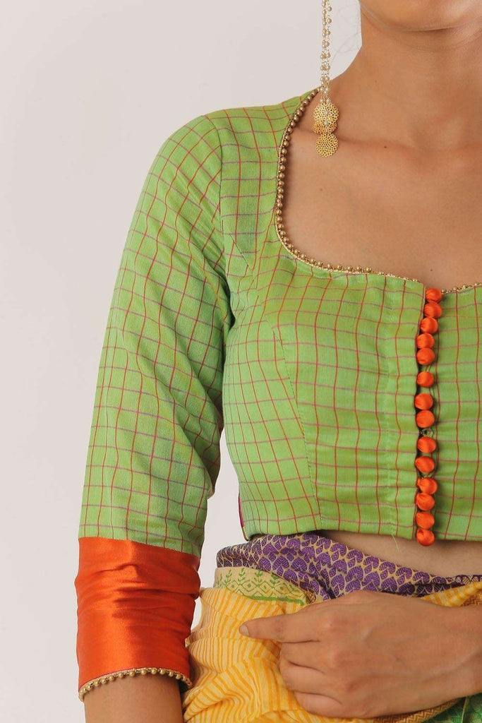 Lime green chanderi silk wide neck blouse with border detailing - House of Blouse