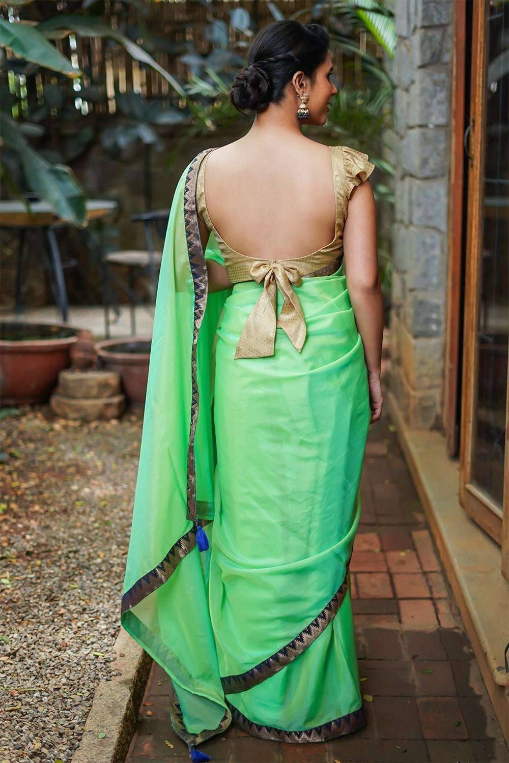 Lime green soft organza saree with Navy blue temple and zari brocade border - House of Blouse