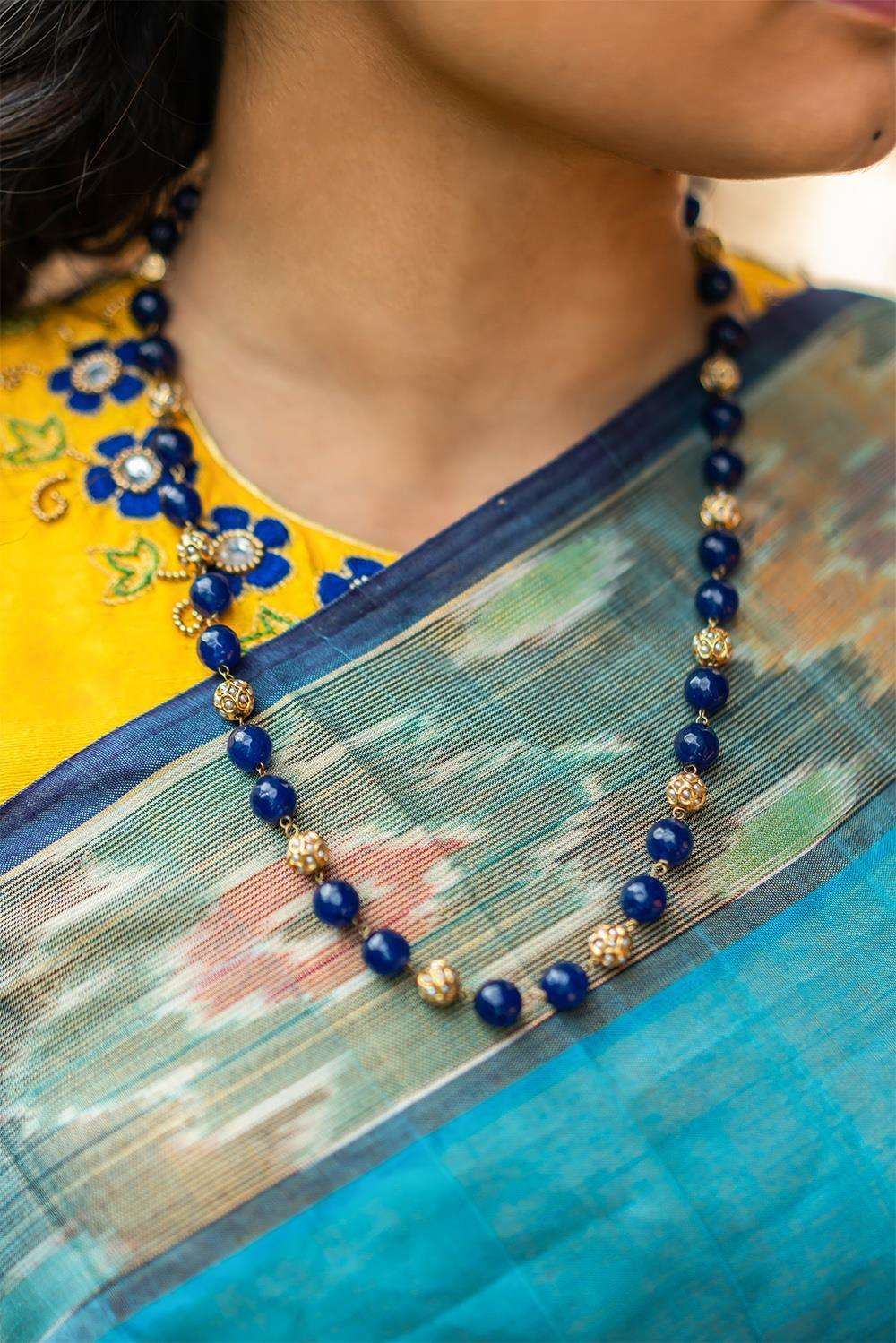 Lisha Blue Onyx and Pearl Jadau String Necklace - House of Blouse