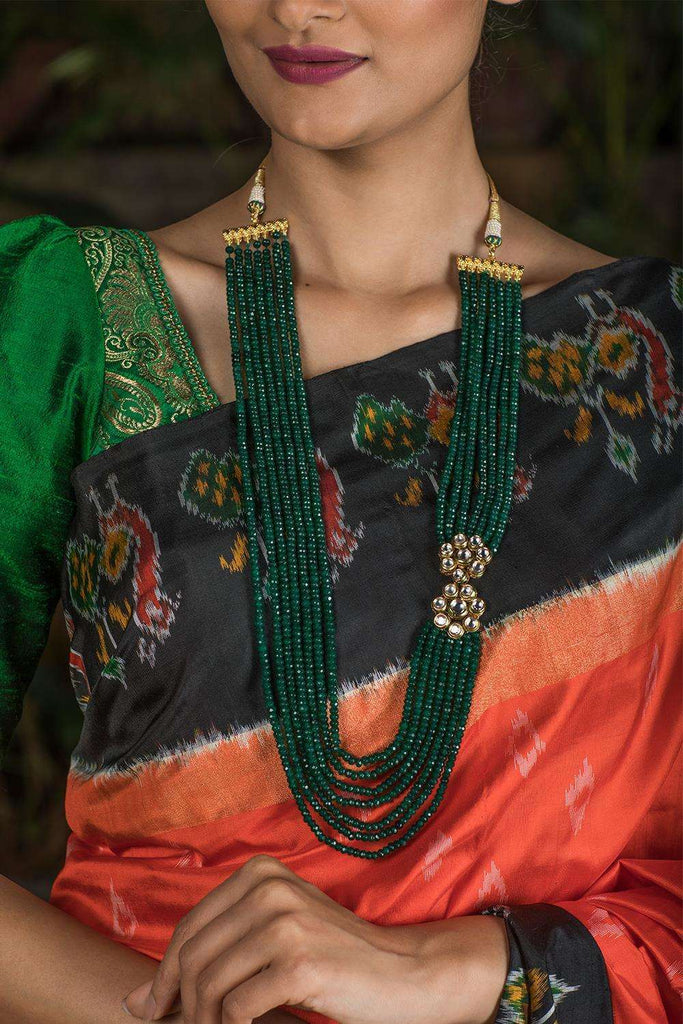 Lunna Green Crystal and Kundan Necklace - House of Blouse