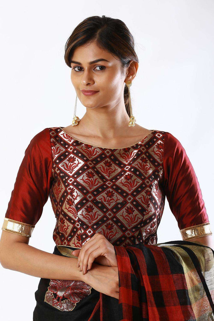 Maroon and black brocade boatneck blouse - House of Blouse