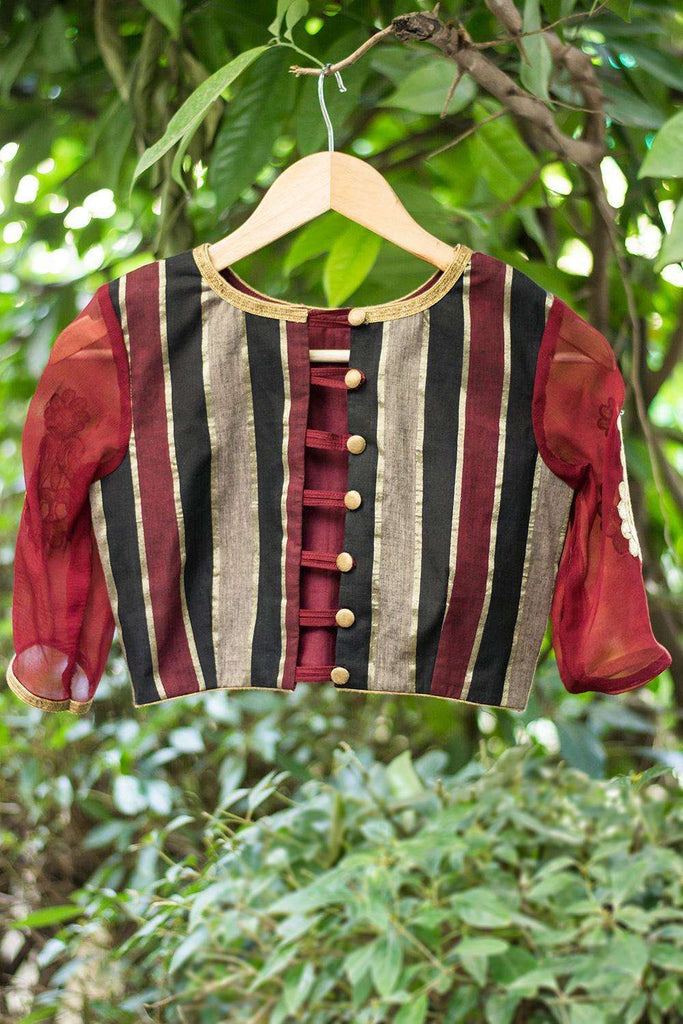Maroon Black Zari cotton blouse with applique on sleeve - House of Blouse