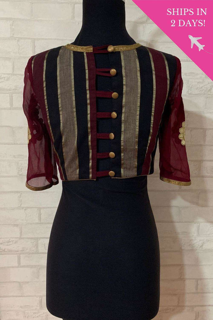 Maroon Black Zari cotton blouse with sleeve applique; Size: 36 - House of Blouse