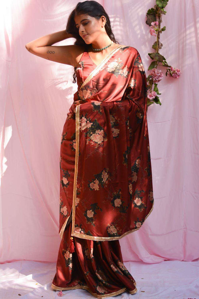 Maroon floral printed pure satin saree with gold shimmer border - House of Blouse