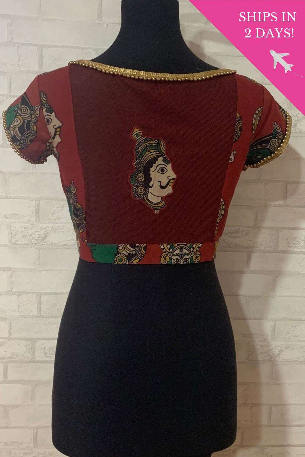 Maroon Kalamkari cotton sheer back blouse; Size: 40