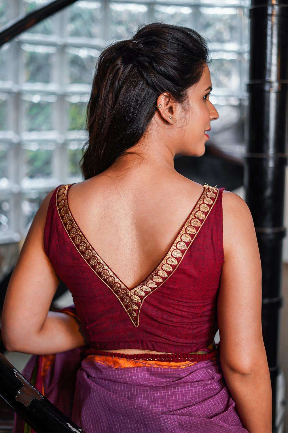 Maroon Khadi cotton V neck sleeveless blouse with maroon zari border - House of Blouse