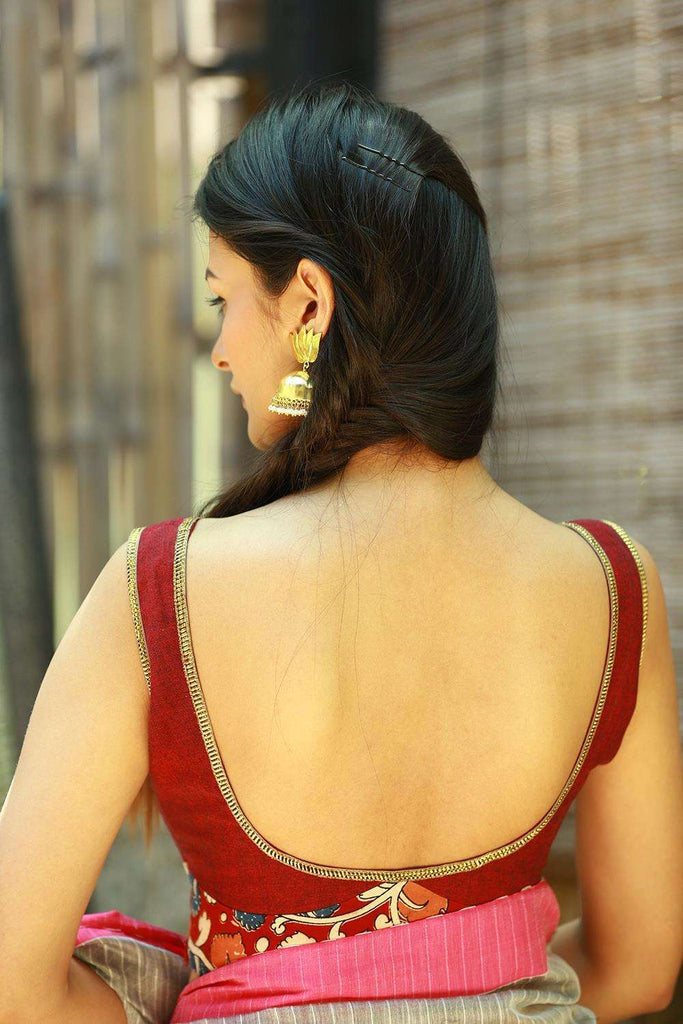 Maroon khadi sleeveless blouse with kalamkari band - House of Blouse