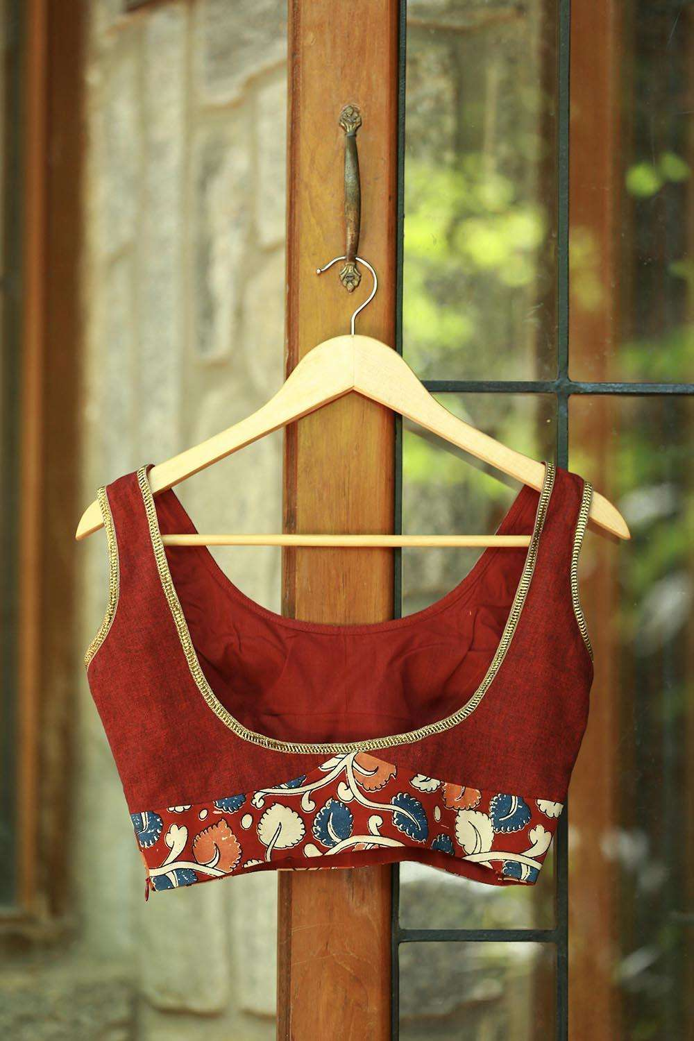 Maroon khadi sleeveless blouse with kalamkari band