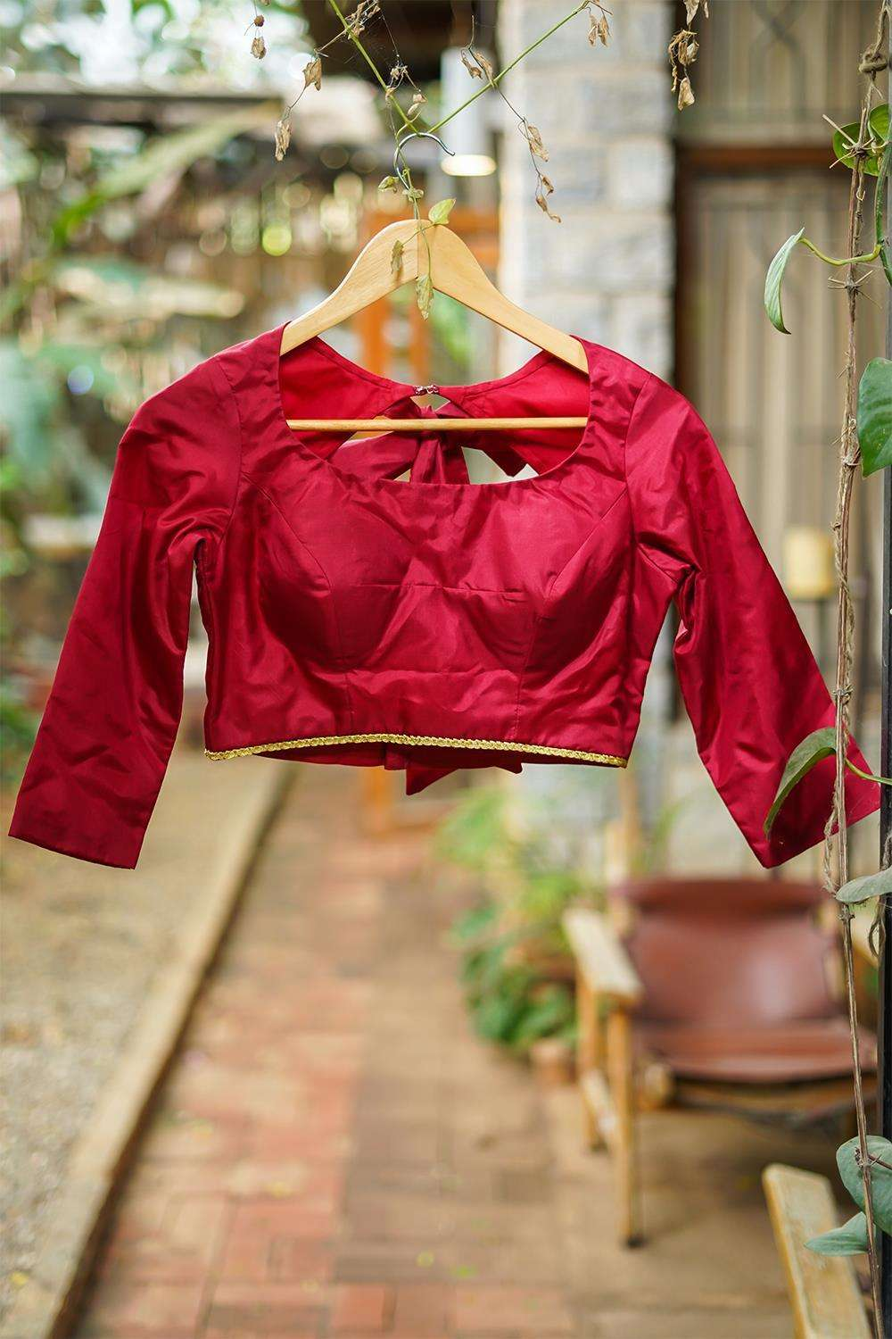 Maroon plain silk 3/4th sleeves blouse with tie back - House of Blouse